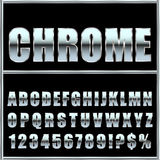 Chrome metal font and symbols for design. Royalty Free Stock Images
