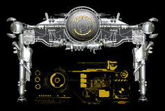 Chrome metal header with graphics Royalty Free Stock Photo