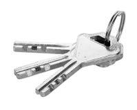 Chrome metal key chain isolated. On white background royalty free stock photos