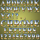 Chrome Metal Letters. An Alphabet Sit of Shiny Chrome Metal Letters and Numbers Stock Photo