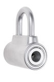 Chrome metal padlock isolated Royalty Free Stock Photography