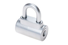 Chrome metal padlock on white Stock Photos