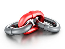 Chrome metallic chain with red link on white background Stock Photography