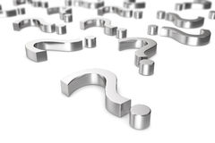 Chrome, metallic question marks on a white background with the effect depth of field. 3d rendering Royalty Free Stock Images