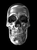 Chrome metallic skull. Hires computer generated image of human skull with chrome texture Stock Images