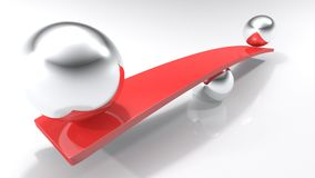 Chrome metallic sphere supports red bar with two spheres at opposite sides Stock Image