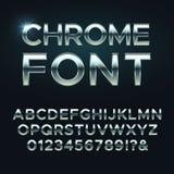 Chrome-Metallvektorguß Metallische Alphabetstahlbuchstaben lizenzfreie abbildung