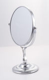 Chrome Mirror with Stand. Mirror for the bathroom, luxury goods Stock Images