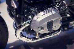 Chrome modern motorcycle engine close-up Stock Image