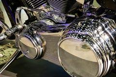 Chrome motorcycle engine Stock Photo