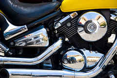 Chrome motorcycle engine with reflections Stock Images