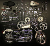 Chrome motorcyle and replacement parts Royalty Free Stock Photos