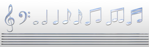 Chrome Music Notes. Hi res chrome music notes and gold stave so you can create your own mucial arrangement.  Created in Photoshop CS3.  Also available on Royalty Free Stock Photos