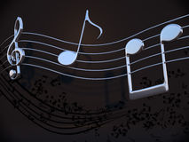 Chrome music notes. 3D image of chrome music notes Royalty Free Stock Photography