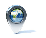 Chrome navigation marker with Earth planet in the center Stock Photography