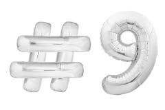 Chrome numéro neuf avec le symbole de hashtag Image stock
