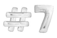 Chrome numéro sept avec le symbole de hashtag Image stock
