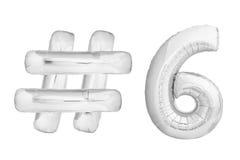 Chrome numéro six avec le symbole de hashtag Photos stock