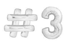 Chrome numéro trois avec le symbole de hashtag Image stock