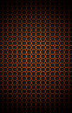 Chrome orage metal grid. Illustration of chrome bilayer black and orange metal grid with rounded honeycombs Royalty Free Stock Images