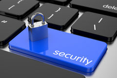 Chrome padlock on the computer keyboard. Security concept Stock Images