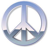 Chrome Peace Sign. Metal or chrome peace sign with reflections vector illustration