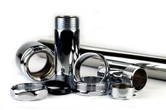 Chrome pipe and accessories Royalty Free Stock Photography