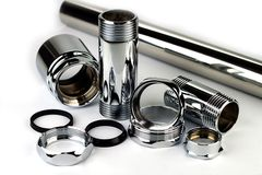 Chrome pipe and accessories Royalty Free Stock Photo