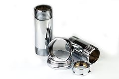 Chrome pipe and accessories Stock Photos