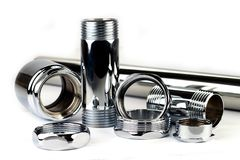 Chrome pipe and accessories Stock Photography
