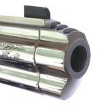 Chrome pistol barrel. Chromed barrel, front sight and compensator on a handgun Stock Image