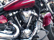 Chrome a plaqué le moteur de moto Photographie stock libre de droits
