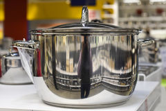 Chrome-plated large saucepan. Rostov-on-Don, Russia, March 18, 2017. Photo taken at the mall Royalty Free Stock Photography