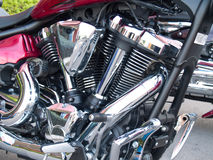 Chrome plated motorcycle engine Royalty Free Stock Images