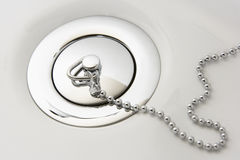 Chrome Plug In Hand Basin. With chain royalty free stock photography