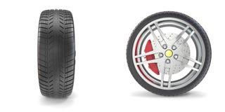 Chrome-Rad mit den Reifen lokalisiert auf weißem Hintergrund Abbildung 3D Lizenzfreie Stockfotos
