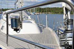 Chrome rail and navigation yacht lamp Stock Photos