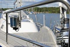 Chrome rail and navigation yacht lamp Stock Photos