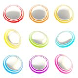 Chrome and rainbow colored glossy plastic round buttons. Set of nine isolated on white vector illustration
