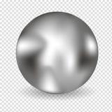 Chrome-realistische bal geïsoleerd op witte achtergrond Sferische 3D orb met transparante glans en hoogtepunten voor decoratie Je vector illustratie