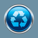 Chrome recycle button. Internet glossy chrome recycle button Royalty Free Stock Images