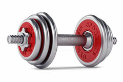Chrome, red dumbbell for fitness Stock Photo