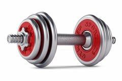 Chrome, red dumbbell for fitness Stock Photo