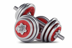 Chrome, red dumbbell for fitness Royalty Free Stock Photo