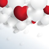 Chrome and red hearts elements background Stock Image