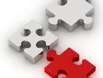 Chrome and red puzzle pieces Stock Photography
