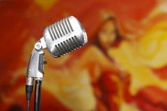 Chrome retro microphone close-up, karaoke stock images