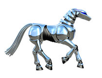 Chrome Robot Horse. 3D render of a chrome robot horse, isolated on white Stock Photography