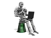 Chrome robot with a laptop on a white background Stock Photography