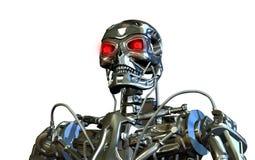 Chrome Robot Portrait. 3D rendered portrait of a chrome robot Stock Image